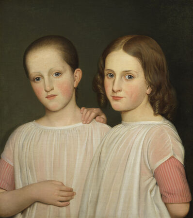 Danish School, 'Two sisters in pink striped dresses and white aprons', ca. 1840