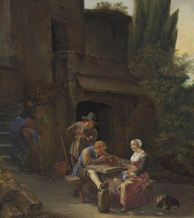 Johannes Natus, 'Peasants drinking and smoking at a table in an Italianate courtyard'
