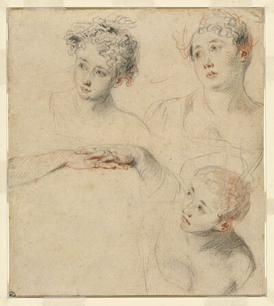 Jean-Antoine Watteau, 'Three Studies of a Woman's Head and a Study of Hands [recto]', 1718/1719