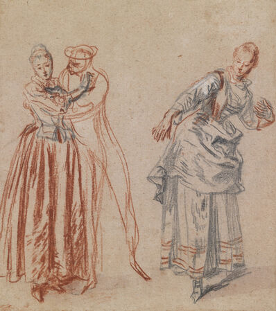 Jean-Antoine Watteau, 'Studies of a Woman Spurning a Man's Advances and a Woman Leaning Back'