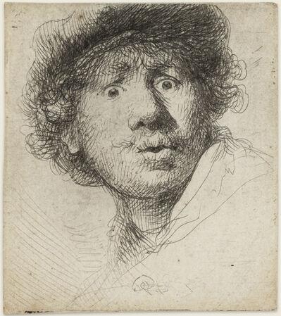 Rembrandt van Rijn, 'Self-Portrait in a Cap, Open Mouthed'