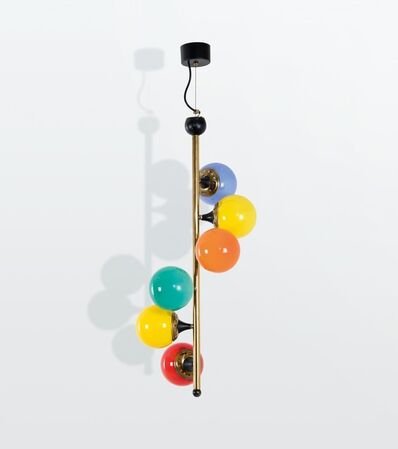 Stilnovo, 'a hanging lamp with a brass structure and coloured opaline glass shades', ca. 1950
