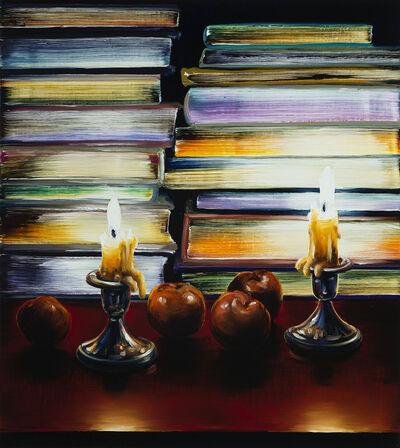 Cornelius Völker, 'Kerzen/Bücher/Früchte', 2019