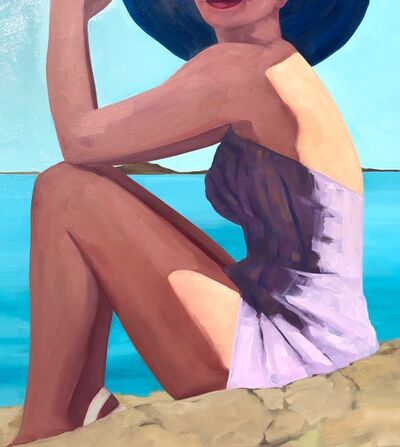 "T.S. Harris, '""Rocky Shore"" oil painting of woman in a purple swimsuit and sunhat at the beach ', 2010"