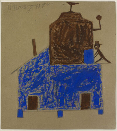 Bill Traylor, 'Untitled (Blue and Brown House with Chimneys)', ca. 1939-1942
