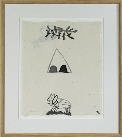 Miguel Castro Leñero, 'Horse in Desert w/Teepee & Branches (2nd Image on Reverse)', 1991