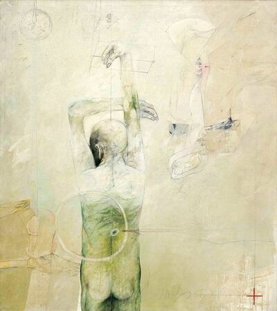 "Sunil Das, 'Confrontation Series, Oil on Canvas, Green, Red, Black, White colors by Modern Indian Artist ""In Stock""', 1986"