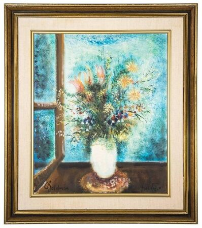 Robert Goldman, 'Vase of Flowers, Vibrant Oil Painting Israeli Artist', 20th Century