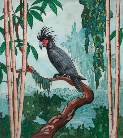 Jane Peterson, 'Tropical Landscape with Palm Cockatoo'