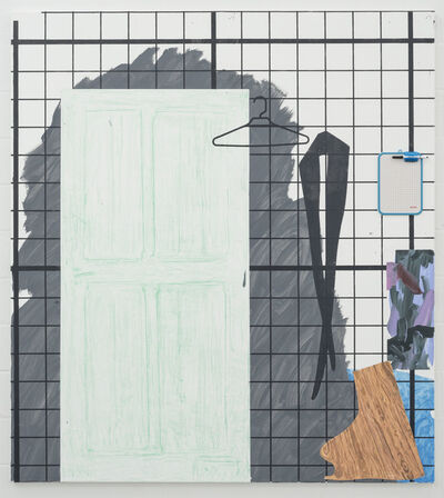 Melissa Gordon, 'Une Femme Pendue (Rubbing of Door, off-cut of wood, Tights, Coat Hanger, Dry-erase Board)', 2019