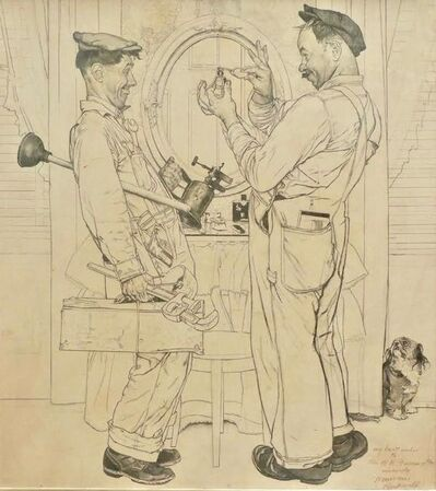 """Norman Rockwell, '""""Plumbers"""" Post Cover, Pencil Study', 1951"""