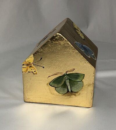 Cecilia Villanueva, 'Back to Nature Casita small, gold leaf, ceramics, butterflies, moths, object, post modern, conceptual art, architecture, house, home', 2020
