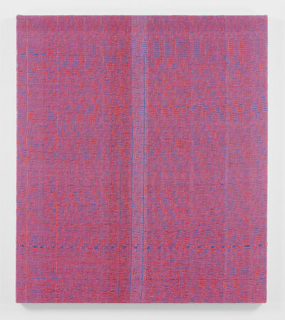 Heather Cook, 'Shadow Weave Fluorescent Red + Smoky Blue (33) 8/4 Cotton 15 EPI', 2018