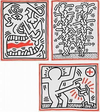 Keith Haring, 'COMPLETE 3 LITHOGRAPHS SUITE (Untitled, Picasso Tongue) ', 1985