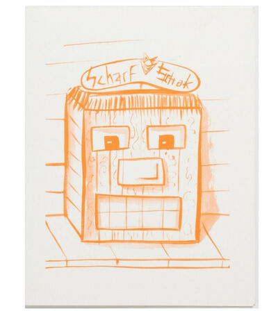 """Kenny Scharf, '2-PIECE SET-  1.) """"Scharf Schak"""", 1995,  Stephanie Seymour Invite 2.) """"Kenny Scharf's Solo Exhibition"""", 1983, Exhibition Invitation ', 1983/1995"""