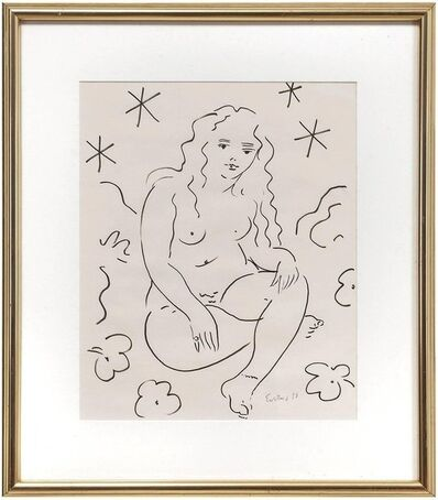 Wayne Ensrud, 'Sitting Nude, Drawing in Ink', Late 20th Century