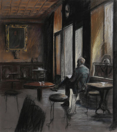 Harry McCormick, 'Man Reading in Cafe', ca. 1980