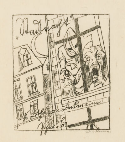 Max Beckmann, 'Title Page for City Night', 1920