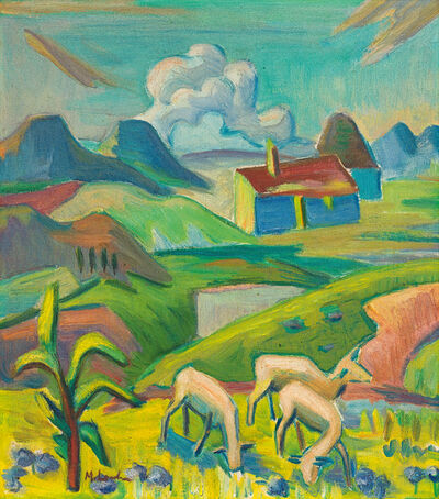 Maggie Laubser, 'Landscape with Sheep'