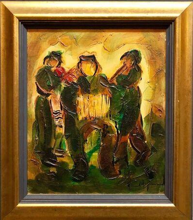 Raoul Raymond, 'Jewish Klezmer Musicians, Israeli Judaica Impasto Palette Knife Oil Painting', 20th Century