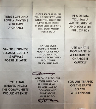 Jenny Holzer, 'Survival Series stickers sheet, SIGNED', 2018