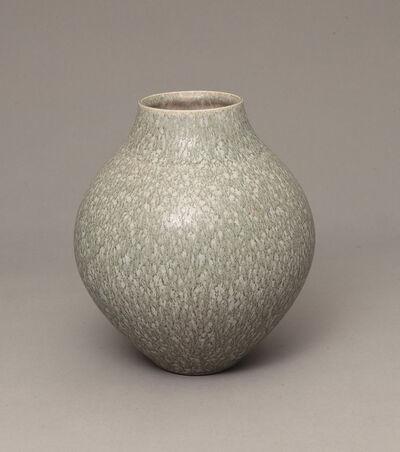Robert Deblander, 'Vase rond à émail moucheté gris-bleu', ca. 1980