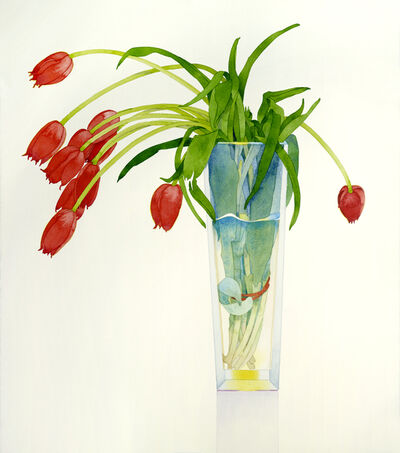Gary Bukovnik, 'Red Tulips in a Tall Vase', 2018