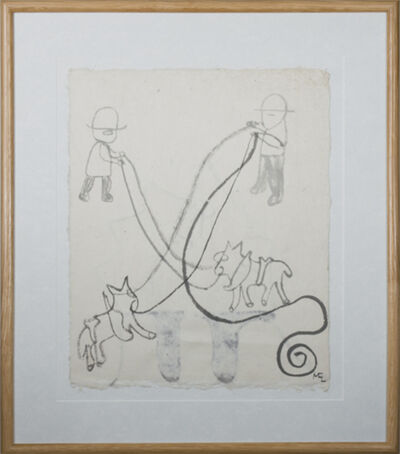 Miguel Castro Leñero, 'Plow Horses 2nd Ink Drawing on reverse', 1991