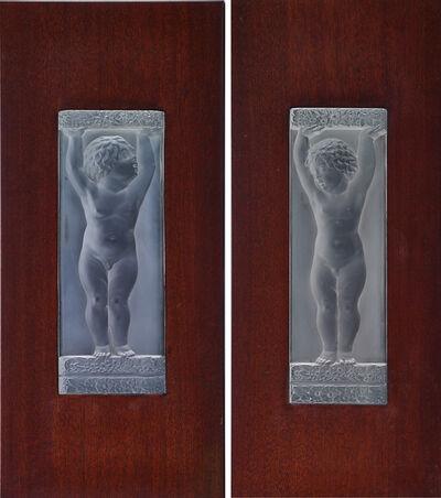 Lalique, 'Two architectural plaques, Bande Fleurs et Plaquette Amours', des. 1929