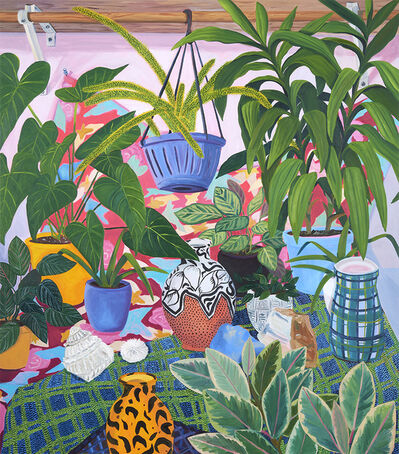 Anna Valdez, 'Painted Pots with Studio Plants', 2019