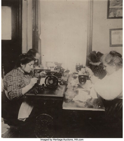 Lewis Wickes Hine, 'A Skilled Wood Worker and Untitled (Women Working on Gloves)', 1920-printed later