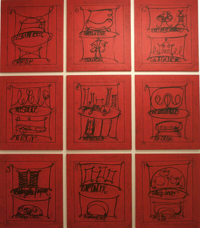 """Matt Mullican, '""""Untitled (Learning from that person's work: city, red)""""', 2009"""