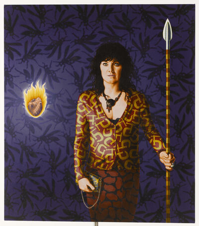 Stephen Hall, 'Portrait of Women with Spear and flaming heart Painting: 'Spear Chucker'', 2019