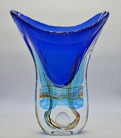Massimiliano Schiavon, 'Glass Vase - V Shape, Blue with multicolor design ', ca. 2017