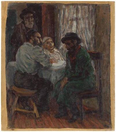 Albert Abramovitz, 'Jewish Family Interior Scene (The Shadchan) Rare Judaica Oil Painting', Early 20th Century