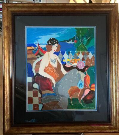 Itzchak Tarkay, 'Normandie Cafe aka Lady by the Sea', 2005