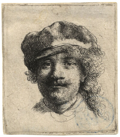Rembrandt van Rijn, 'Self-Portrait Wearing a Soft Cap: full face, head only  ', ca. 1634