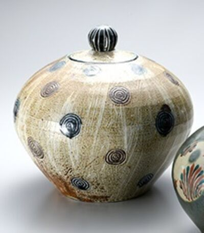Tomoo Hamada, 'Lidded vase, salt glaze with hakeme decoration', ca. 2015