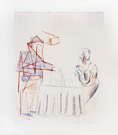 David Hockney, 'Figures With Still Life, from the Blue Guitar portfolio', 1977