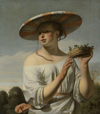 Cesar van Everdingen, 'Girl in a Large Hat', ca. 1645-c. 1650