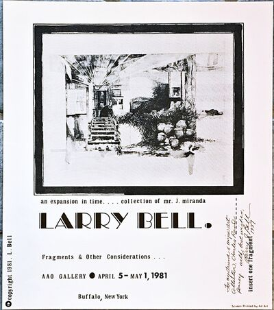Larry Bell, 'Rare Silkscreen Poster for the Fragments and Other Considerations... (Hand Signed and Inscribed to Collector Charles Rand Penney)', 1981