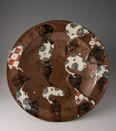 Tomoo Hamada, 'Large plate, kaki glaze with akae decoration', 2010