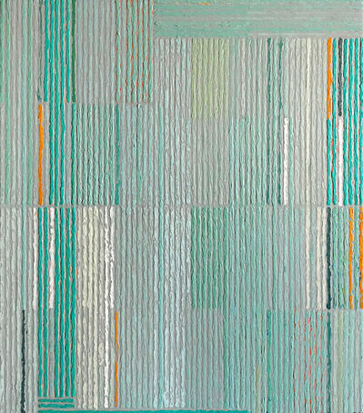 Sunny Taylor, 'Stacked Pattern With Aqua & Gold'