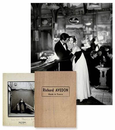 Richard Avedon, 'Made in France monograph with Suzy Parker and Gardner McKay, Dress by Balmain, Café des Beaux Arts, Paris, August', 1956/2001