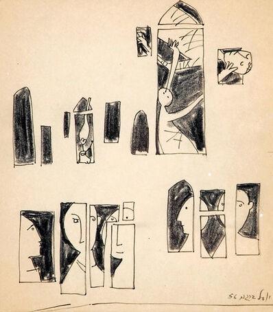 Yosl Bergner, 'Figures at the Window', 1956