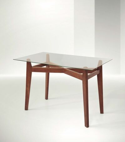 Franco Albini, 'a desk with a wooden structure and glass top', 1945