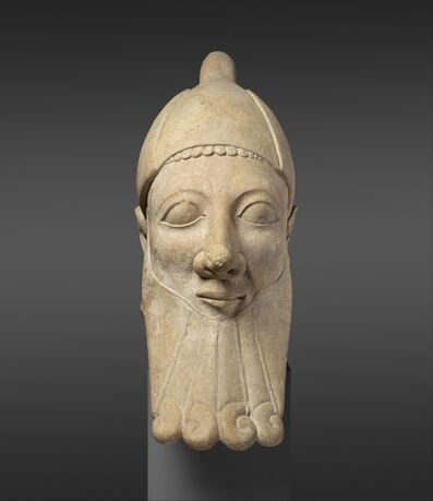 Unknown Cypriot, 'Limestone head of a bearded man', early 6th century B.C.