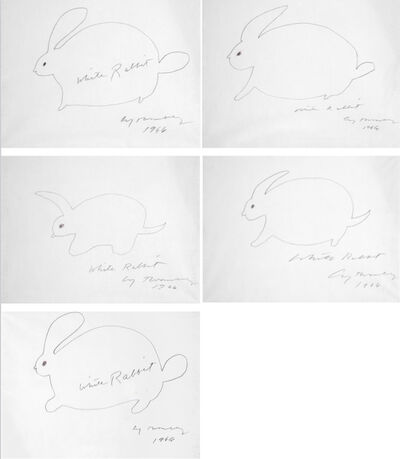 Cy Twombly, 'White Rabbit (Suite of 5 drawings)', 1966