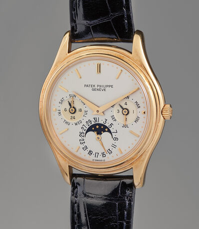"Patek Philippe, 'An attractive and fine ""first series"" yellow gold perpetual calendar wristwatch with moon phase', 1985"