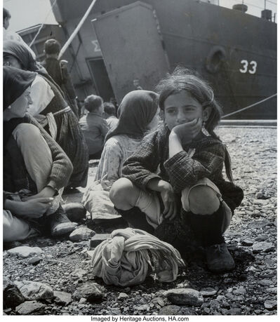 "David ""CHIM"" Seymour, 'Orphans of the Greek War (Evacuation of children near Promahi, Greece during Civil War); Orphans of the Greek War; Greek Orphans (Girl in Front of Ship) (three photographs)', 1948; 1948; 1950"